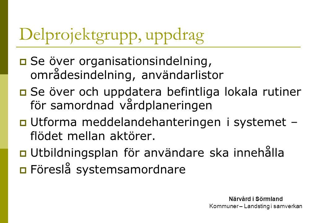Delprojektgrupp, uppdrag Närvård i Sörmland Kommuner – Landsting i samverkan  Se över organisationsindelning, områdesindelning, användarlistor  Se ö