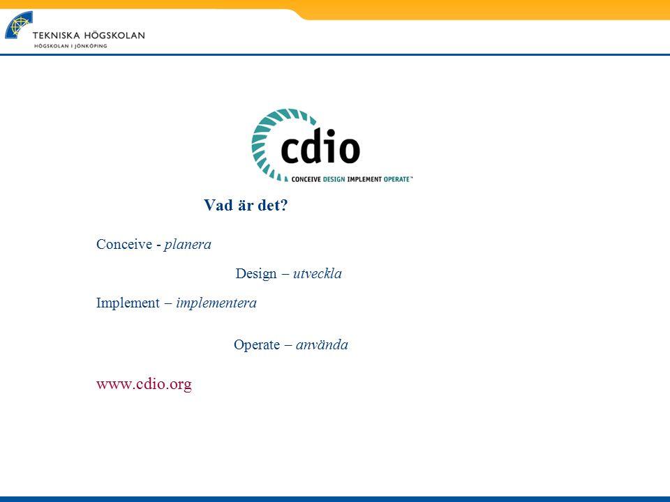 Vad är det? Conceive - planera Design – utveckla Implement – implementera Operate – använda www.cdio.org