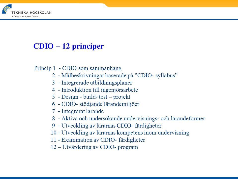 """CDIO – 12 principer Princip 1 - CDIO som sammanhang 2 - Målbeskrivningar baserade på """"CDIO- syllabus"""" 3 - Integrerade utbildningsplaner 4 - Introdukti"""