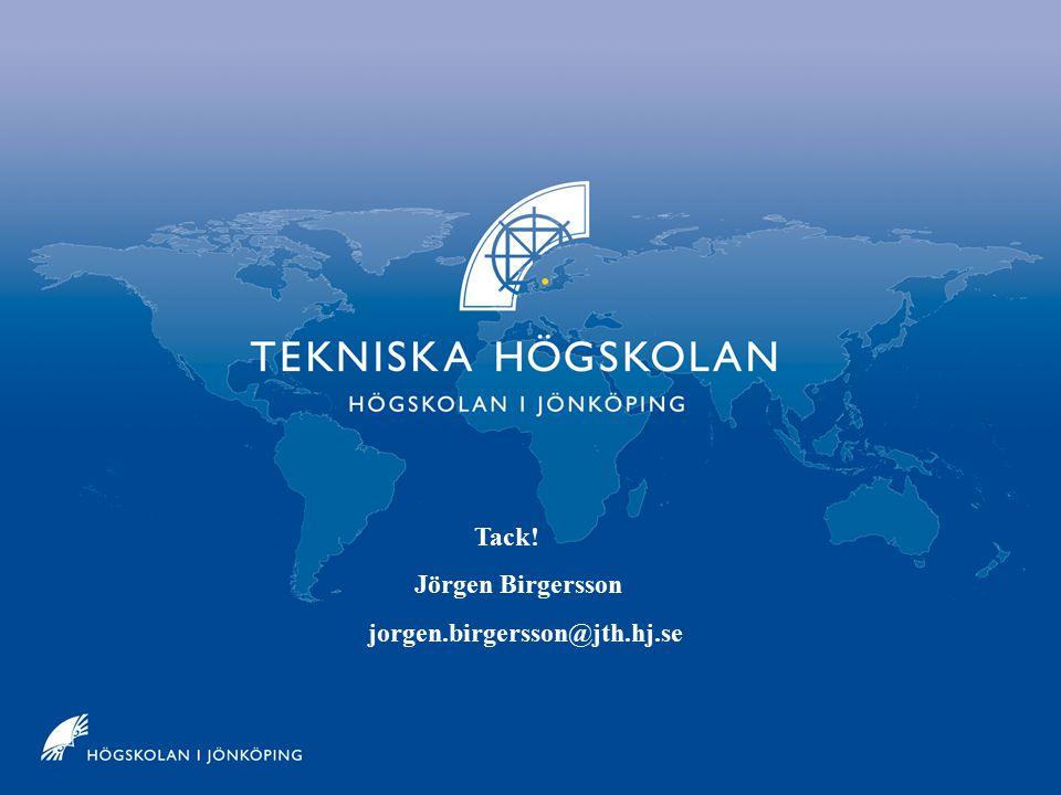 Jönköpings Tekniska Högskola Tack! Jörgen Birgersson jorgen.birgersson@jth.hj.se