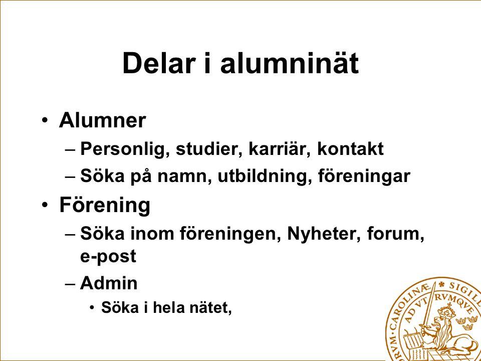 Delar i alumninät Alumner –Personlig, studier, karriär, kontakt –Söka på namn, utbildning, föreningar Förening –Söka inom föreningen, Nyheter, forum, e-post –Admin Söka i hela nätet,