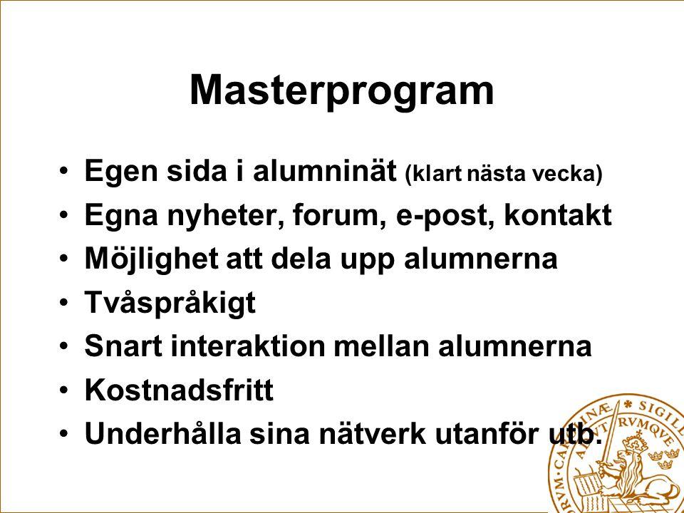 Masterprogram Egen sida i alumninät (klart nästa vecka) Egna nyheter, forum, e-post, kontakt Möjlighet att dela upp alumnerna Tvåspråkigt Snart interaktion mellan alumnerna Kostnadsfritt Underhålla sina nätverk utanför utb.