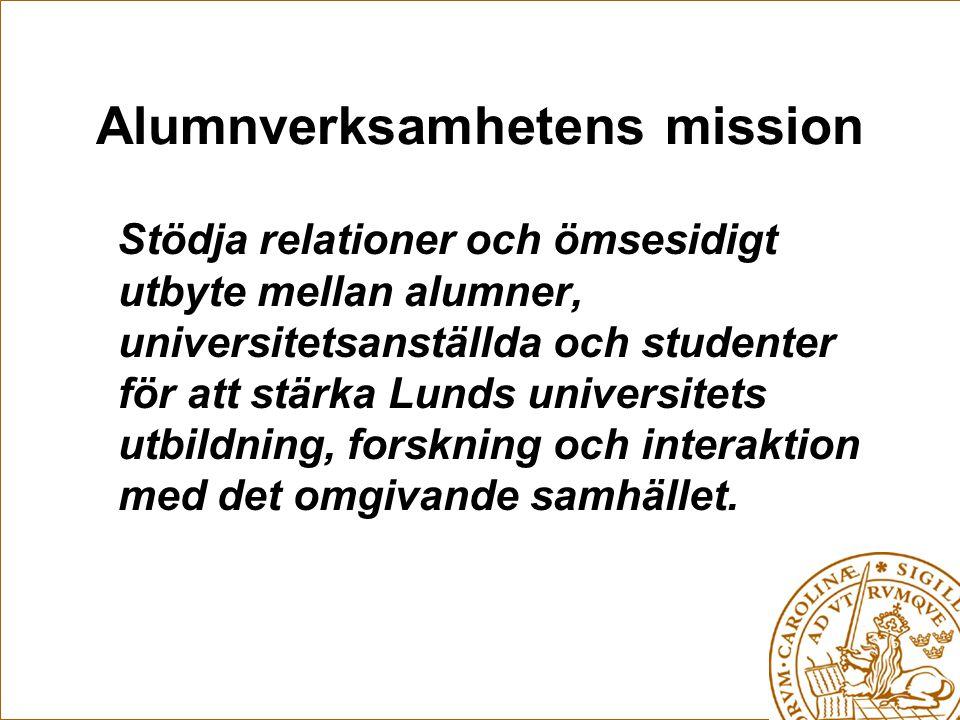 Alumnverksamhetens mission Stödja relationer och ömsesidigt utbyte mellan alumner, universitetsanställda och studenter för att stärka Lunds universitets utbildning, forskning och interaktion med det omgivande samhället.