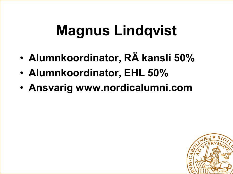 Magnus Lindqvist Alumnkoordinator, RÄ kansli 50% Alumnkoordinator, EHL 50% Ansvarig www.nordicalumni.com