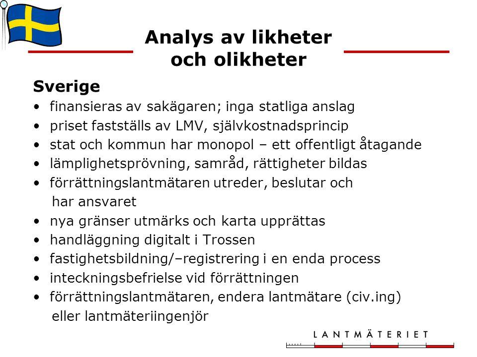 Analys av likheter och olikheter Sverige finansieras av sakägaren; inga statliga anslag priset fastställs av LMV, självkostnadsprincip stat och kommun har monopol – ett offentligt åtagande lämplighetsprövning, samråd, rättigheter bildas förrättningslantmätaren utreder, beslutar och har ansvaret nya gränser utmärks och karta upprättas handläggning digitalt i Trossen fastighetsbildning/–registrering i en enda process inteckningsbefrielse vid förrättningen förrättningslantmätaren, endera lantmätare (civ.ing) eller lantmäteriingenjör