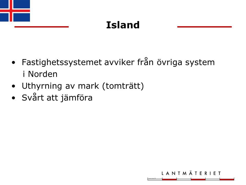 Island Fastighetssystemet avviker från övriga system i Norden Uthyrning av mark (tomträtt) Svårt att jämföra