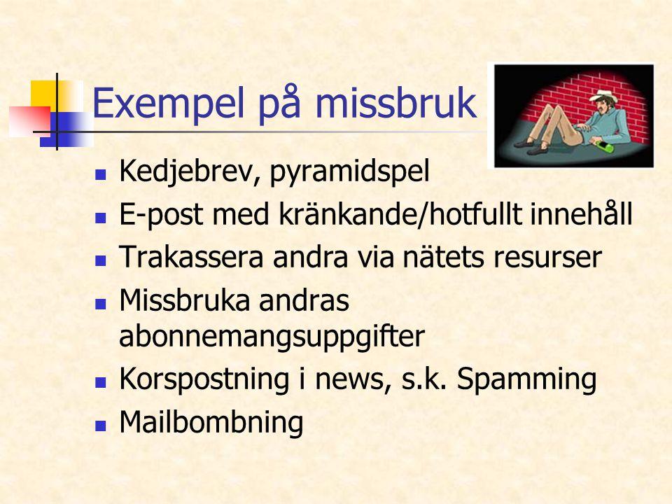 Exempel på missbruk Kedjebrev, pyramidspel E-post med kränkande/hotfullt innehåll Trakassera andra via nätets resurser Missbruka andras abonnemangsupp