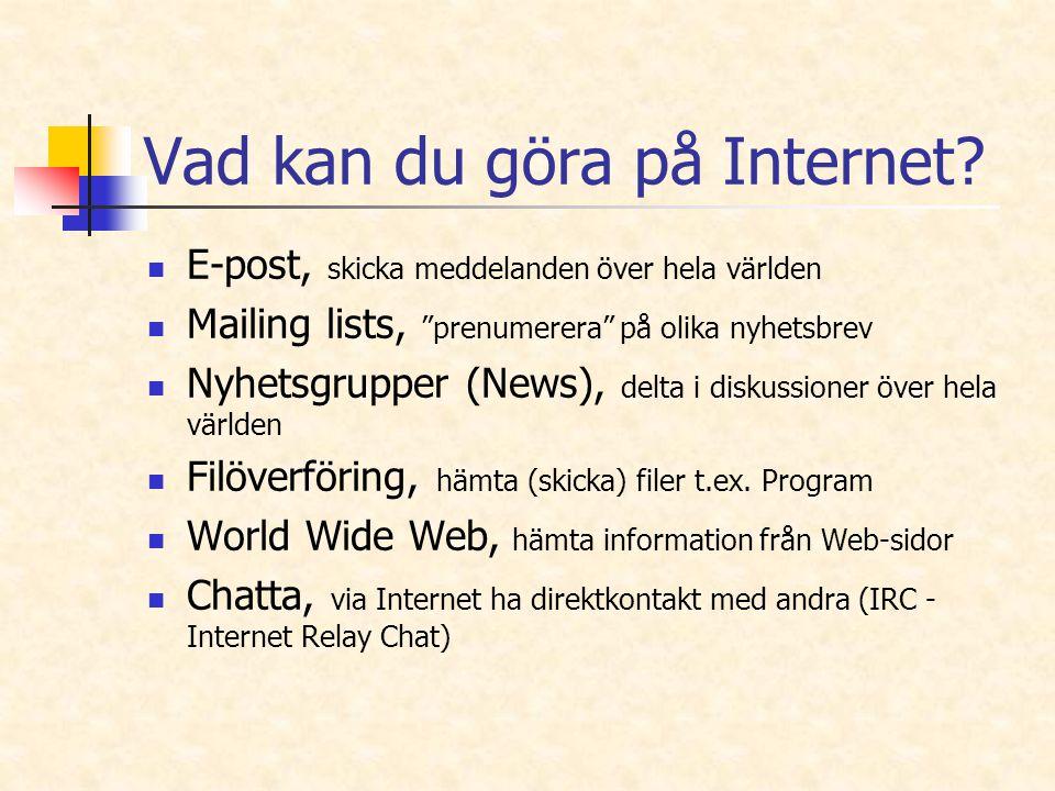 """Vad kan du göra på Internet? E-post, skicka meddelanden över hela världen Mailing lists, """"prenumerera"""" på olika nyhetsbrev Nyhetsgrupper (News), delta"""