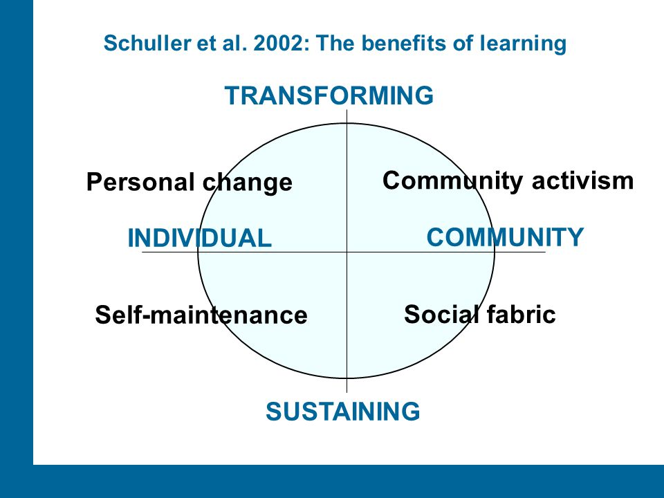 ÅA/Ped.inst. SUSTAINING INDIVIDUAL COMMUNITY TRANSFORMING Social fabric Self-maintenance Personal change Community activism Schuller et al. 2002: The