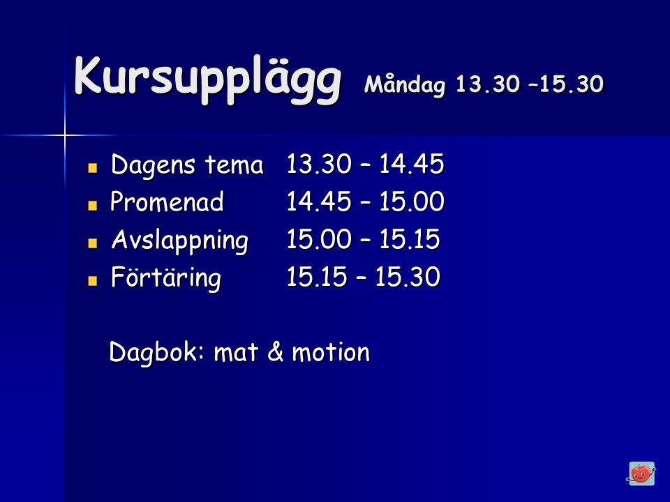 Kursupplägg Måndag 13.30 –15.30 Dagens tema13.30 – 14.45 Promenad14.45 – 15.00 Avslappning15.00 – 15.15 Förtäring15.15 – 15.30 Dagbok: mat & motion Dagbok: mat & motion