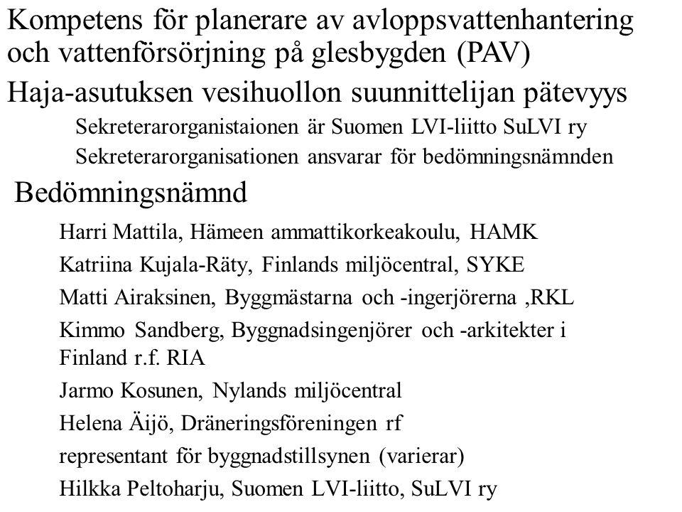 Bedömningsnämnd Harri Mattila, Hämeen ammattikorkeakoulu, HAMK Katriina Kujala-Räty, Finlands miljöcentral, SYKE Matti Airaksinen, Byggmästarna och -i