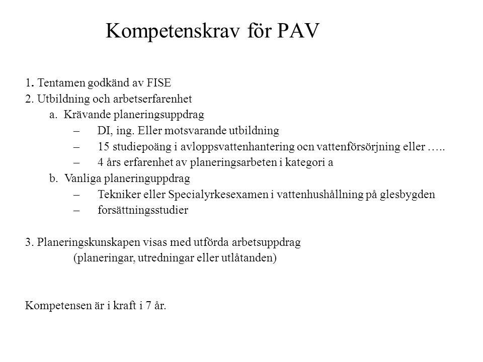 Kompetenskrav för PAV 1. Tentamen godkänd av FISE 2. Utbildning och arbetserfarenhet a. Krävande planeringsuppdrag –DI, ing. Eller motsvarande utbildn