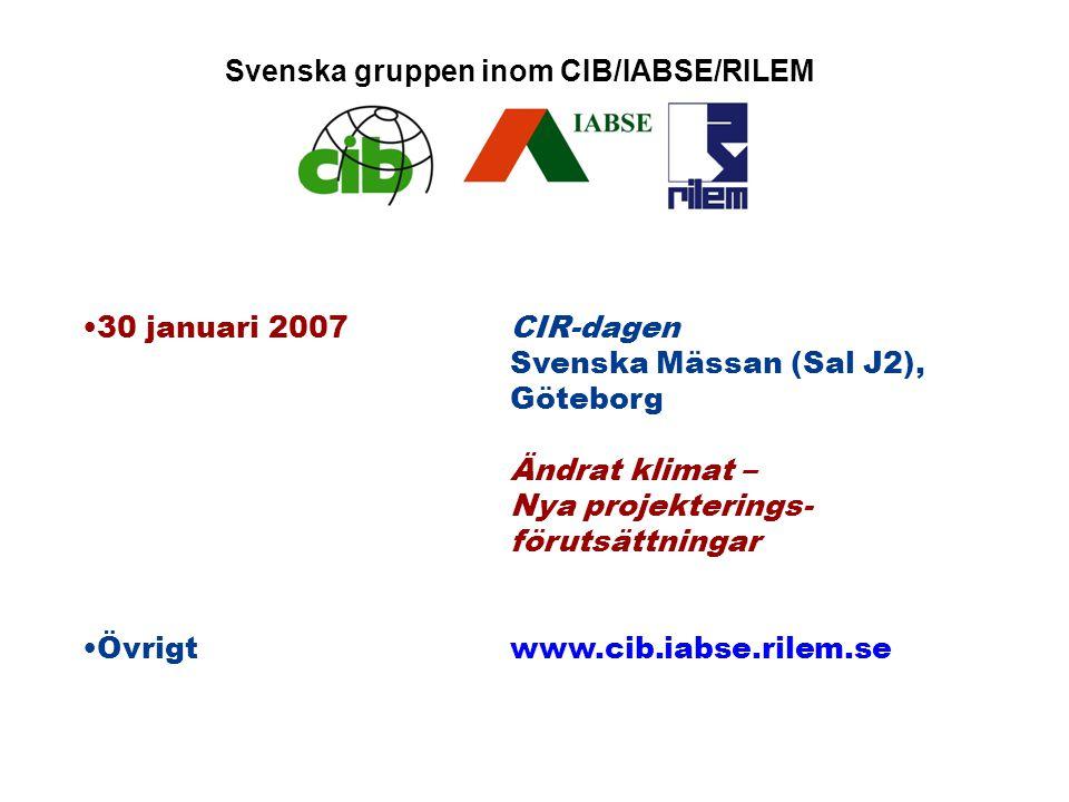 CIR-dagen den 30 januari 2007 i Göteborg Ändrat klimat - Nya projekteringsförutsättningar Program 09.00 Inledning / Allmän information om svenska CIR-gruppen Forskningsdirektör Hans Ingvarsson, ordf.