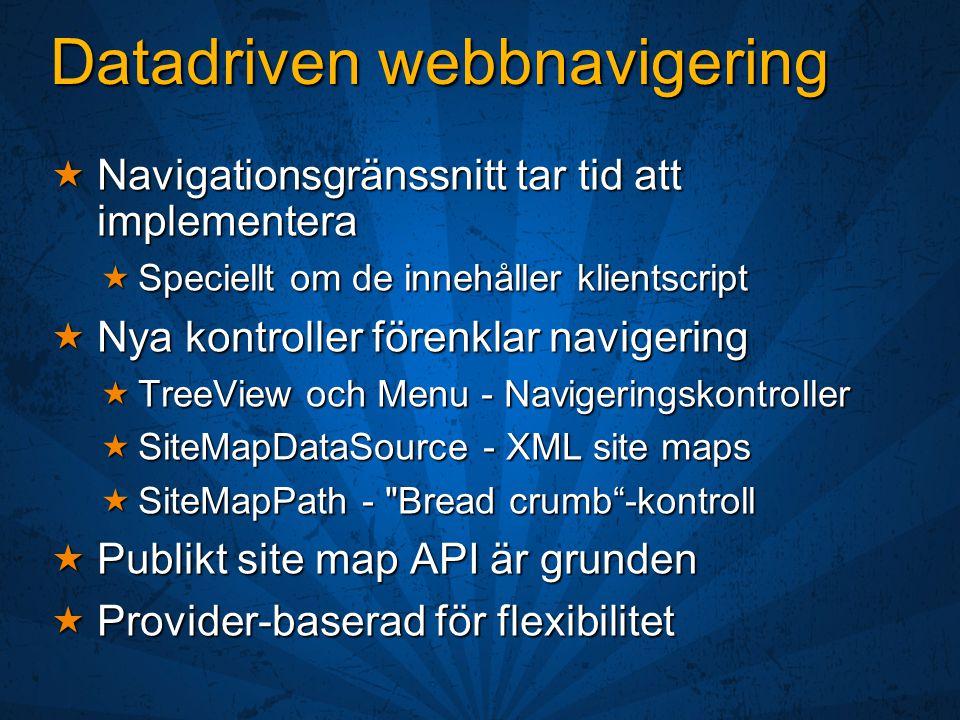 Datadriven webbnavigering  Navigationsgränssnitt tar tid att implementera  Speciellt om de innehåller klientscript  Nya kontroller förenklar navigering  TreeView och Menu - Navigeringskontroller  SiteMapDataSource - XML site maps  SiteMapPath - Bread crumb -kontroll  Publikt site map API är grunden  Provider-baserad för flexibilitet