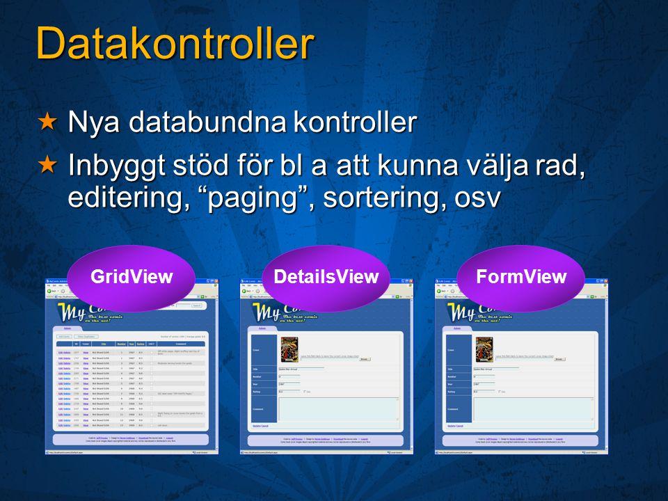 Datakontroller  Nya databundna kontroller  Inbyggt stöd för bl a att kunna välja rad, editering, paging , sortering, osv GridViewDetailsViewFormView