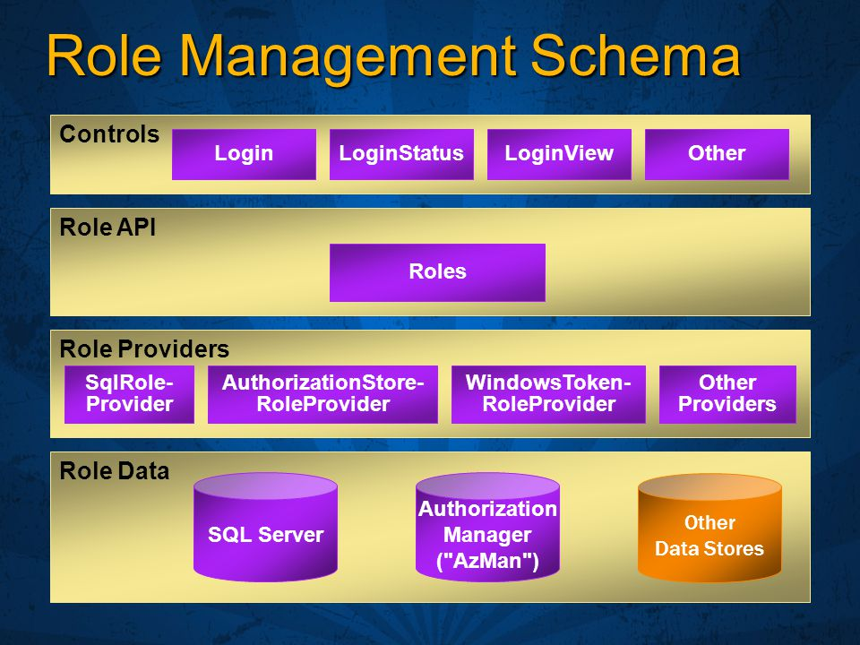 Role Management Schema Role API Role Data SQL Server Other Data Stores Role Providers Authorization Manager ( AzMan ) LoginLoginStatusLoginViewOther Controls Roles SqlRole- Provider AuthorizationStore- RoleProvider Other Providers WindowsToken- RoleProvider