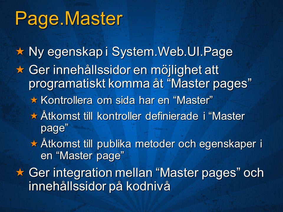 Master Pages André Henriksson Developer Evangelist Microsoft AB
