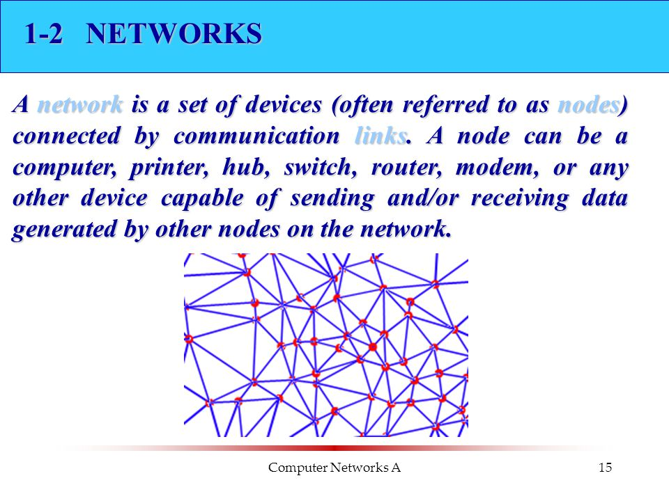 Computer Networks A15 1-2 NETWORKS A network is a set of devices (often referred to as nodes) connected by communication links. A node can be a comput