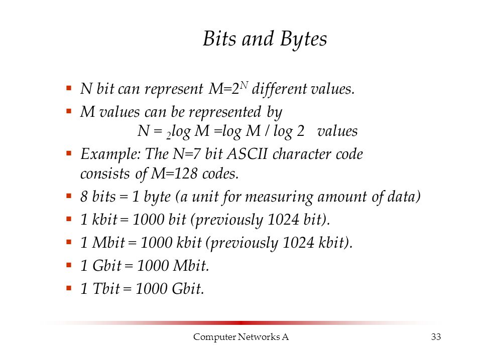 Computer Networks A33 Bits and Bytes  N bit can represent M=2 N different values.  M values can be represented by N = 2 log M =log M / log 2 values