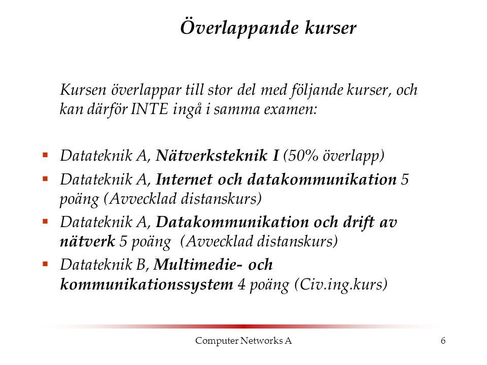 Computer Networks A6 Överlappande kurser Kursen överlappar till stor del med följande kurser, och kan därför INTE ingå i samma examen:  Datateknik A,