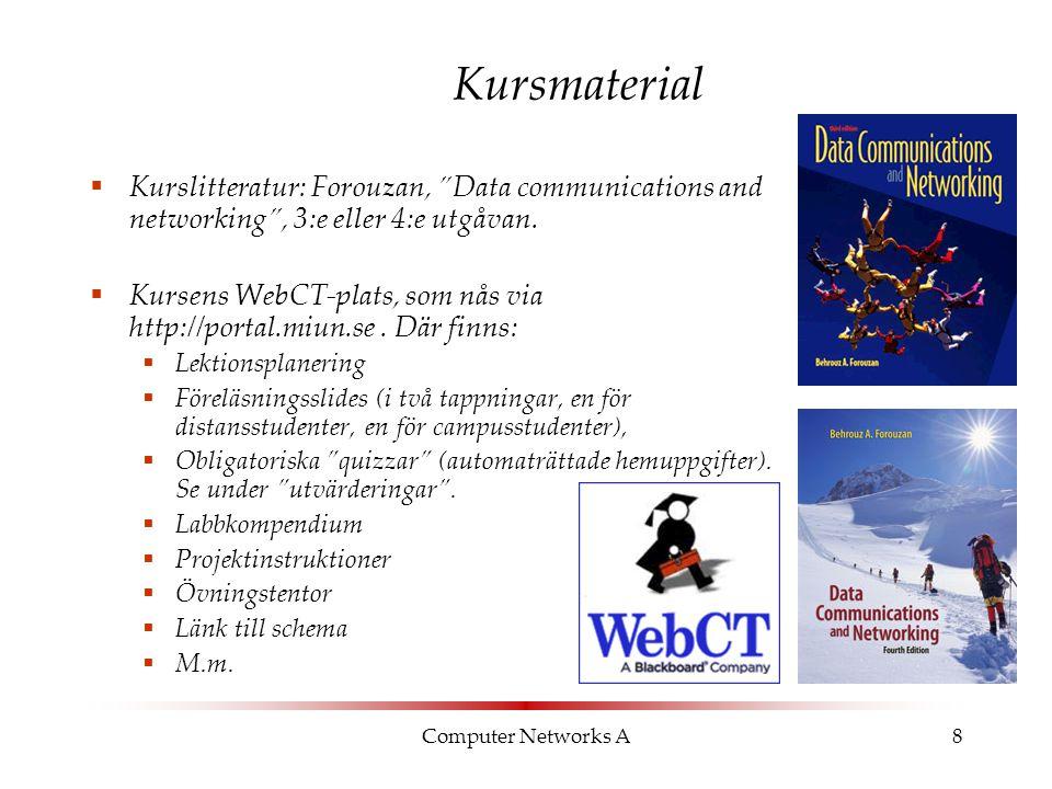 """Computer Networks A8 Kursmaterial  Kurslitteratur: Forouzan, """"Data communications and networking"""", 3:e eller 4:e utgåvan.  Kursens WebCT-plats, som"""