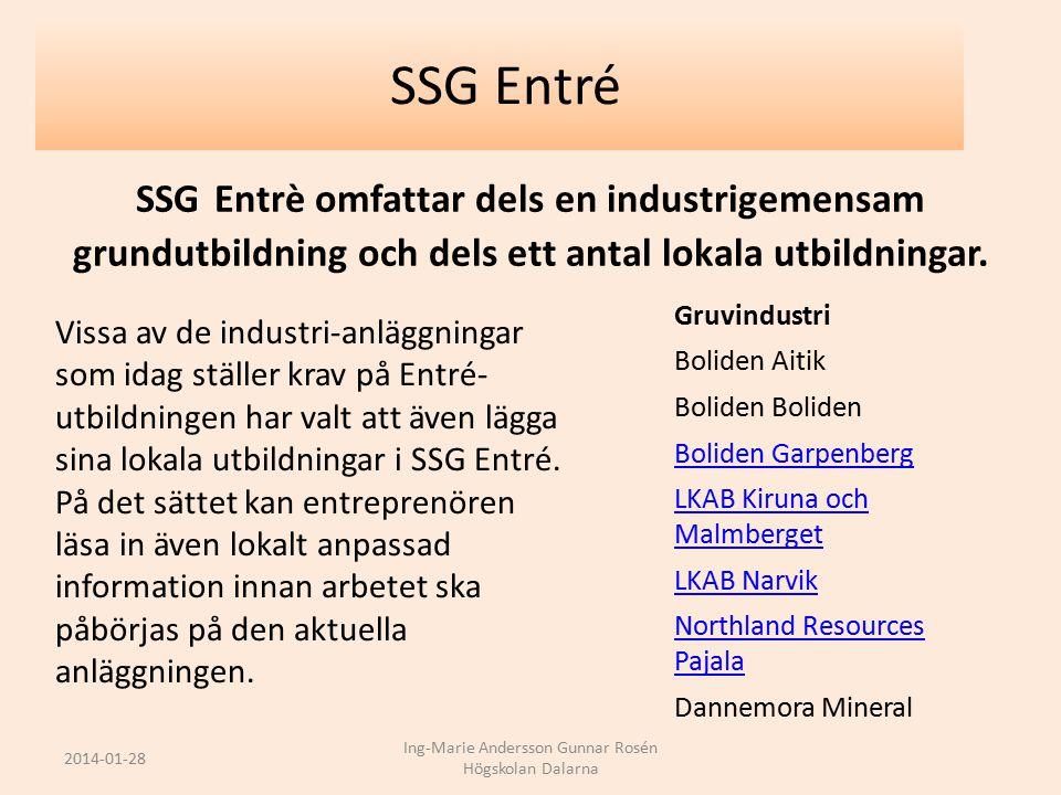SSG Entrè omfattar dels en industrigemensam grundutbildning och dels ett antal lokala utbildningar. Gruvindustri Boliden Aitik Boliden Boliden Garpenb