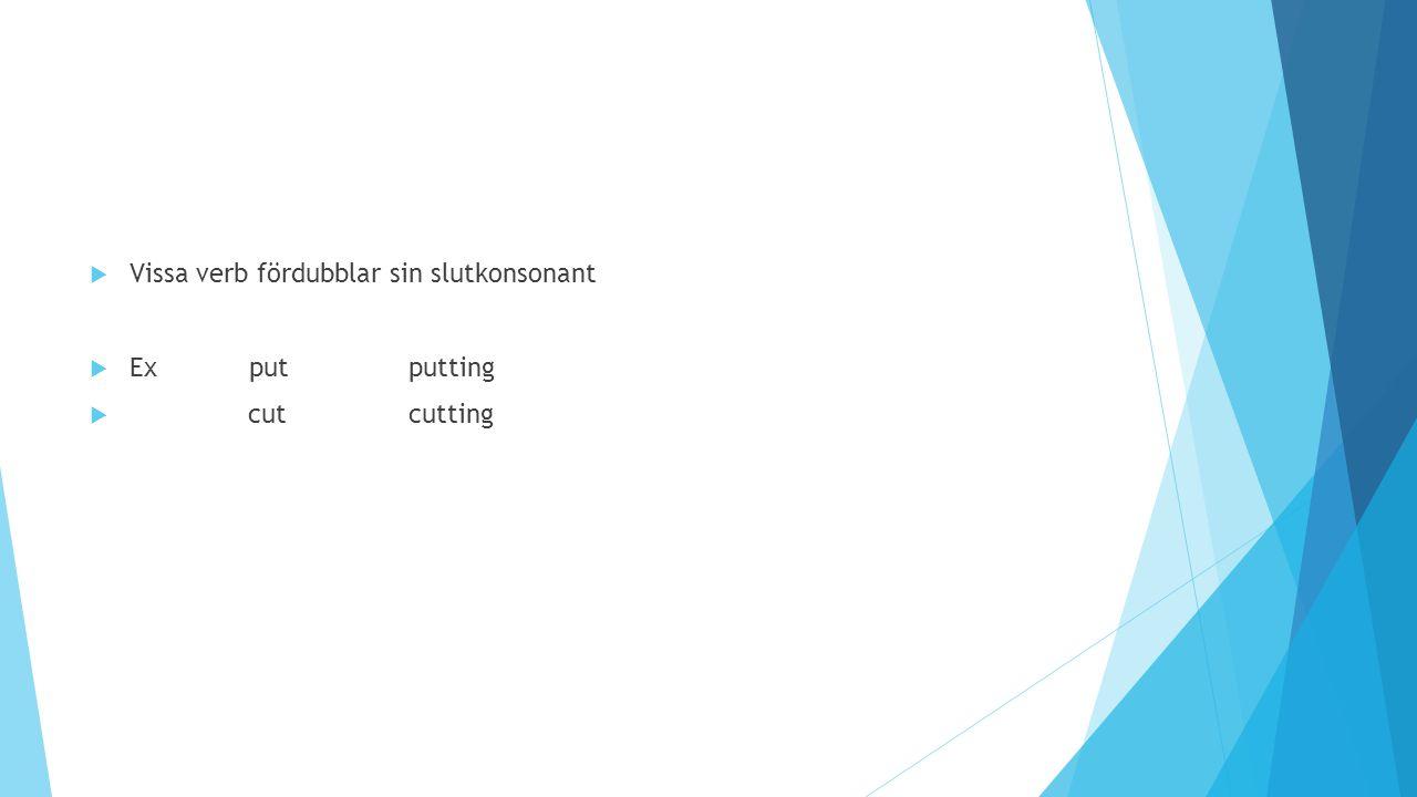  Vissa verb fördubblar sin slutkonsonant  Exputputting  cutcutting