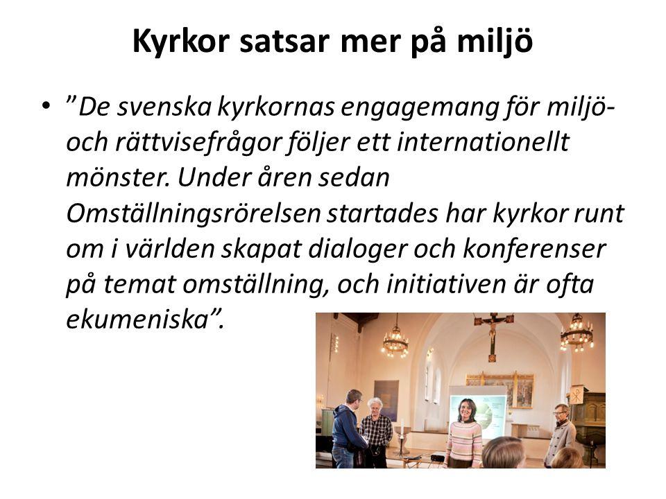 Kyrkor satsar mer på miljö De svenska kyrkornas engagemang för miljö- och rättvisefrågor följer ett internationellt mönster.