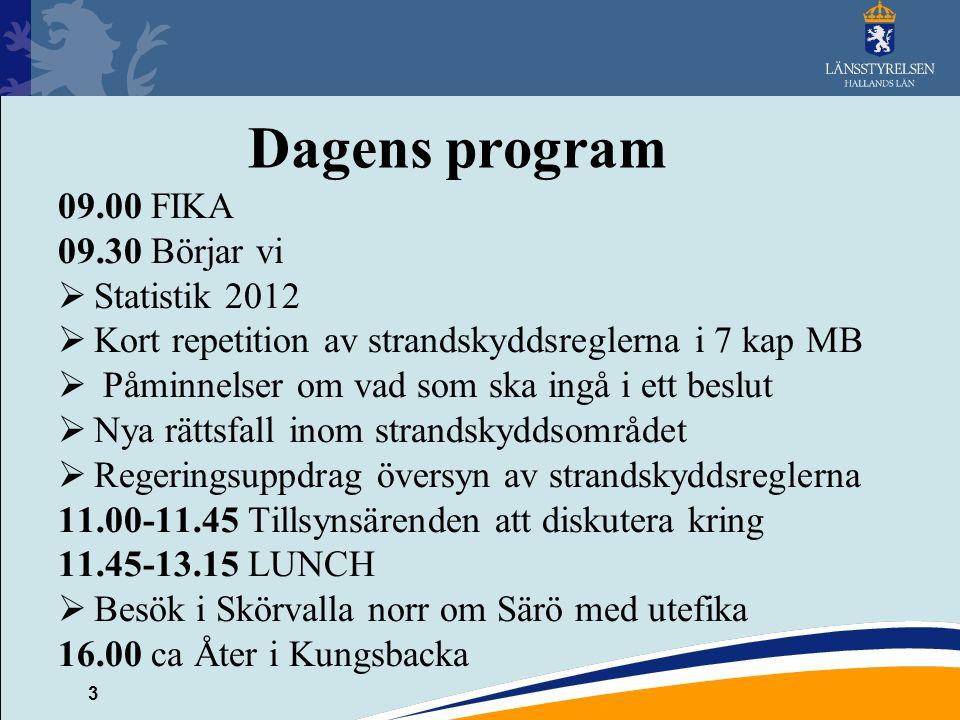 3 Dagens program 09.00 FIKA 09.30 Börjar vi  Statistik 2012  Kort repetition av strandskyddsreglerna i 7 kap MB  Påminnelser om vad som ska ingå i