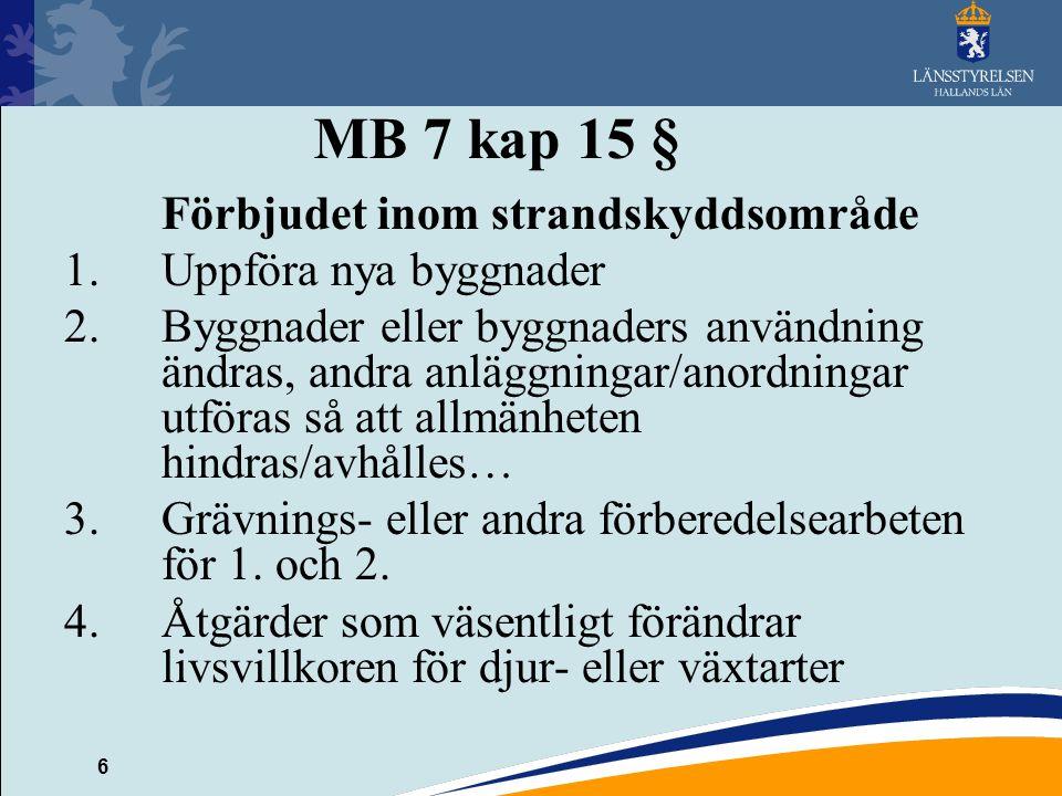 6 MB 7 kap 15 § Förbjudet inom strandskyddsområde 1.Uppföra nya byggnader 2.Byggnader eller byggnaders användning ändras, andra anläggningar/anordning