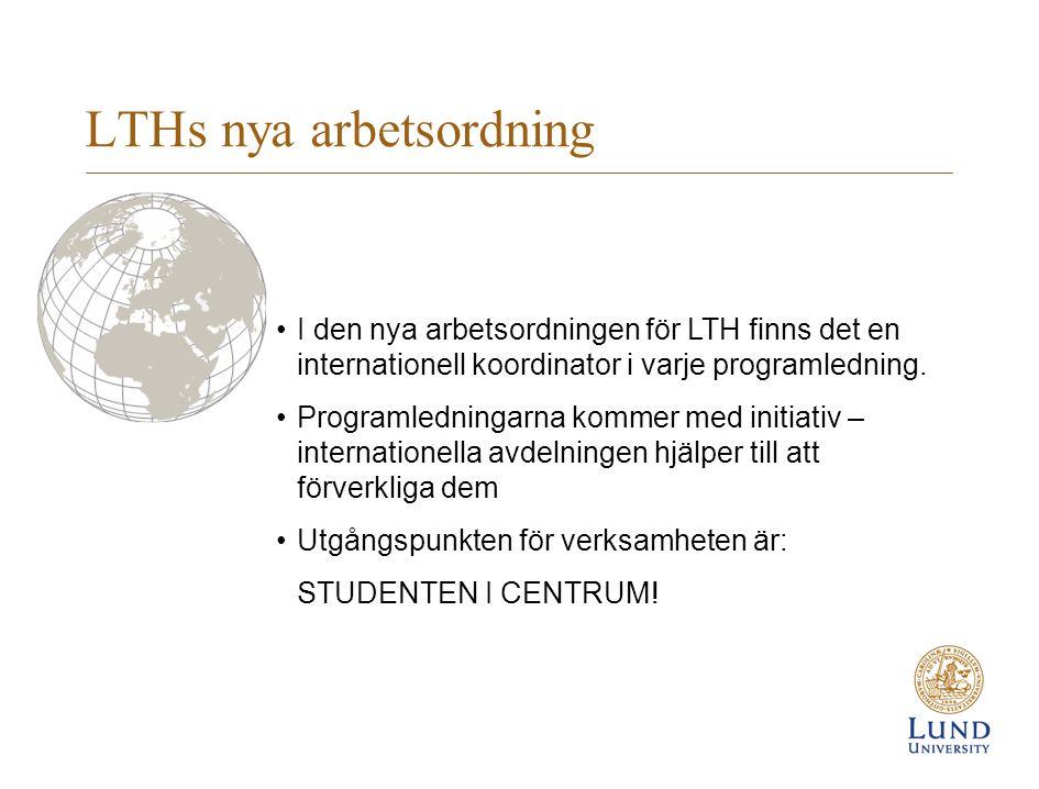 LTHs nya arbetsordning I den nya arbetsordningen för LTH finns det en internationell koordinator i varje programledning.