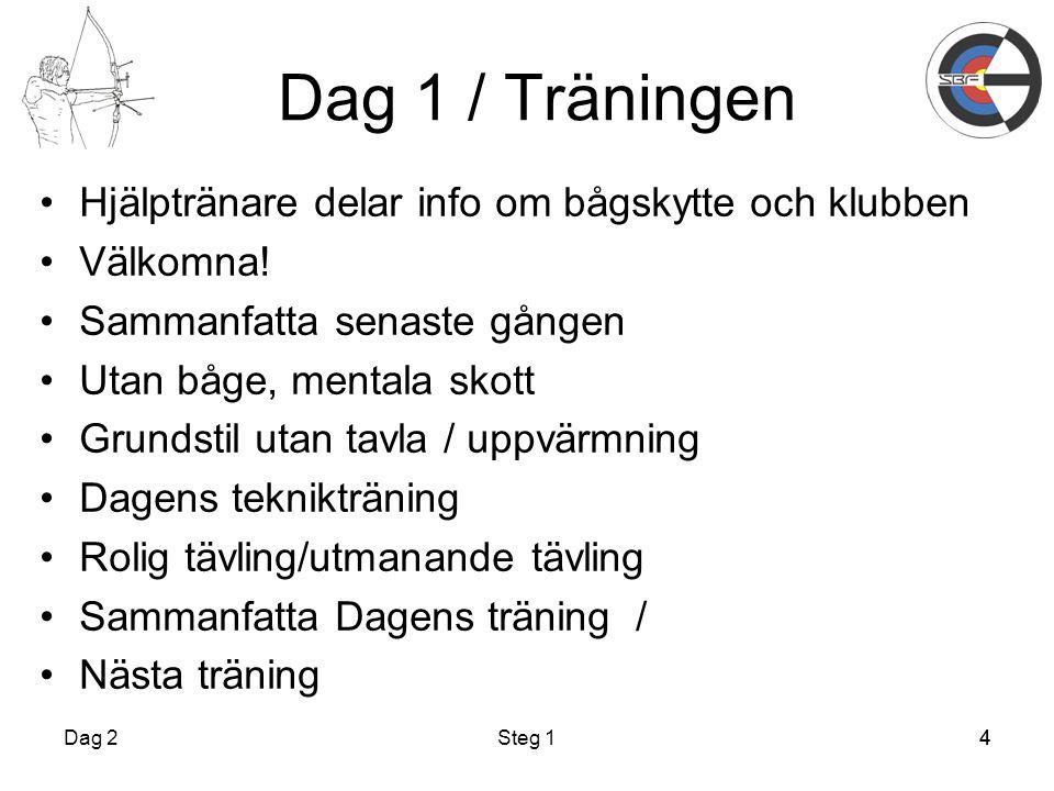 4 Dag 1 / Träningen Hjälptränare delar info om bågskytte och klubben Välkomna.