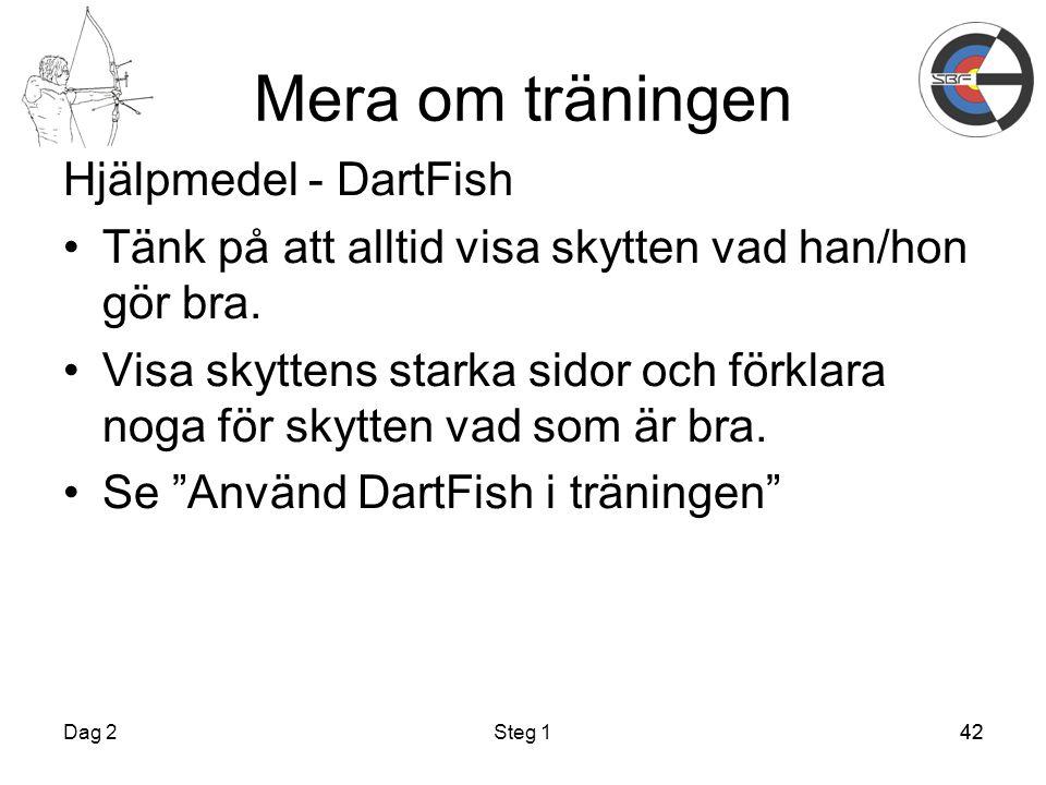 42 Mera om träningen Hjälpmedel - DartFish Tänk på att alltid visa skytten vad han/hon gör bra.