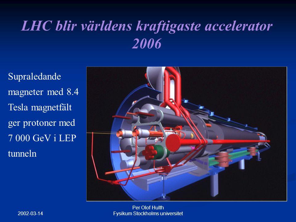2002-03-14 Per Olof Hulth Fysikum Stockholms universitet LHC blir världens kraftigaste accelerator 2006 Supraledande magneter med 8.4 Tesla magnetfält ger protoner med 7 000 GeV i LEP tunneln