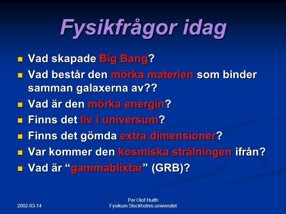 2002-03-14 Per Olof Hulth Fysikum Stockholms universitet Maxenergin för en accelerator är proportionell mot radien*magnetfältet R Vilken radie behövs med LHC's 8 Tesla magneter att accelerera en proton till 3* 10 20 eV???