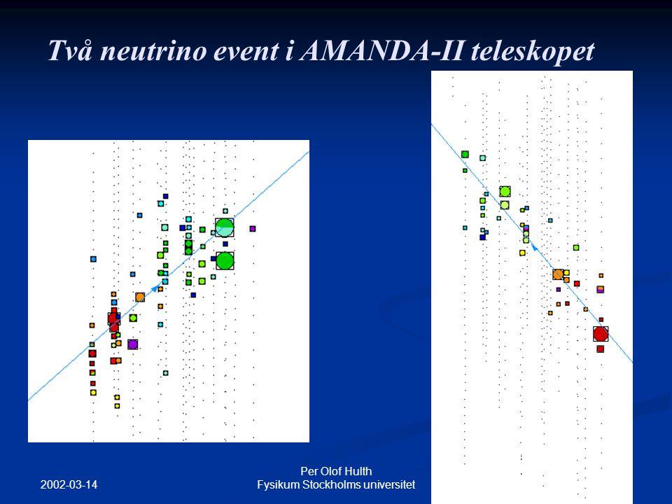 2002-03-14 Per Olof Hulth Fysikum Stockholms universitet Två neutrino event i AMANDA-II teleskopet