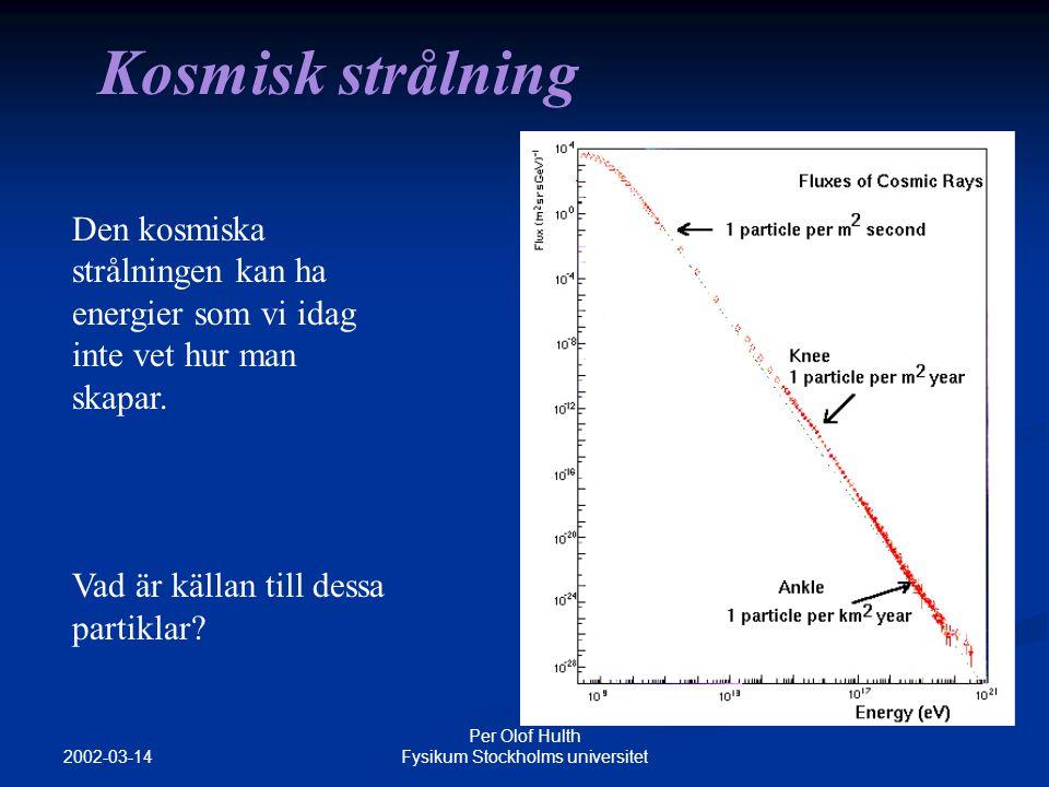 2002-03-14 Per Olof Hulth Fysikum Stockholms universitet Neutrinoastronomi Neutriner kan färdas enorma sträckor och genom stora mängder materia utan att stoppas Neutriner kan färdas enorma sträckor och genom stora mängder materia utan att stoppas Neutriner förväntas bildas vid många olika kosmologiska källor (mörk materia, AGN, GRB…) Neutriner förväntas bildas vid många olika kosmologiska källor (mörk materia, AGN, GRB…) Neutrinon går opåverkat av universums magnetfält Neutrinon går opåverkat av universums magnetfält Ett helt nytt sätt att studera universum!.