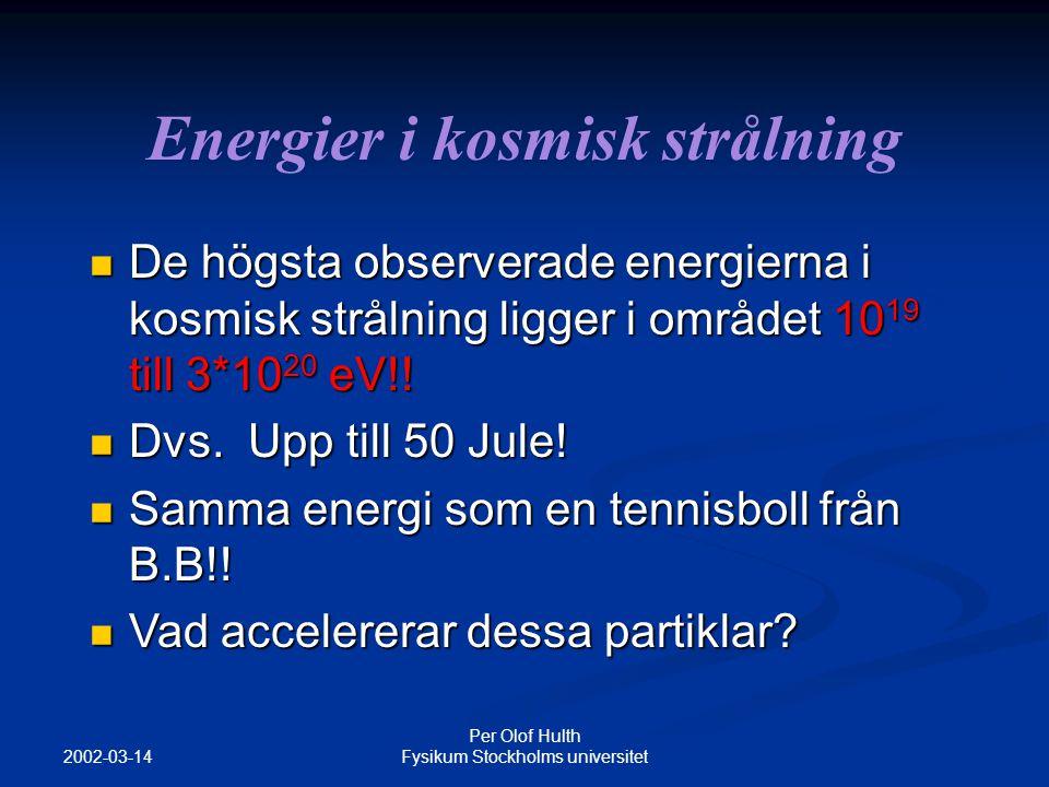 2002-03-14 Per Olof Hulth Fysikum Stockholms universitet Neutrinofysik Vi har tre neutriner: Elektronneutrinon  e Myonneutrinon  Tauneutrinon  Exempel neutronsönderfall : neutron -> proton + e - + e