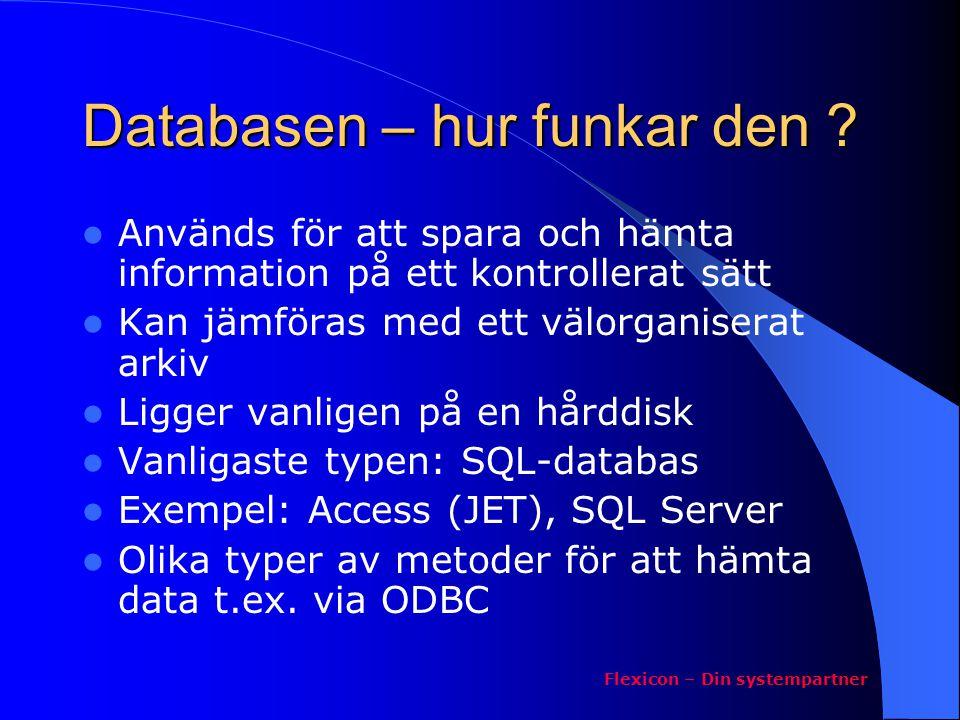Databasen – hur funkar den ? Används för att spara och hämta information på ett kontrollerat sätt Kan jämföras med ett välorganiserat arkiv Ligger van