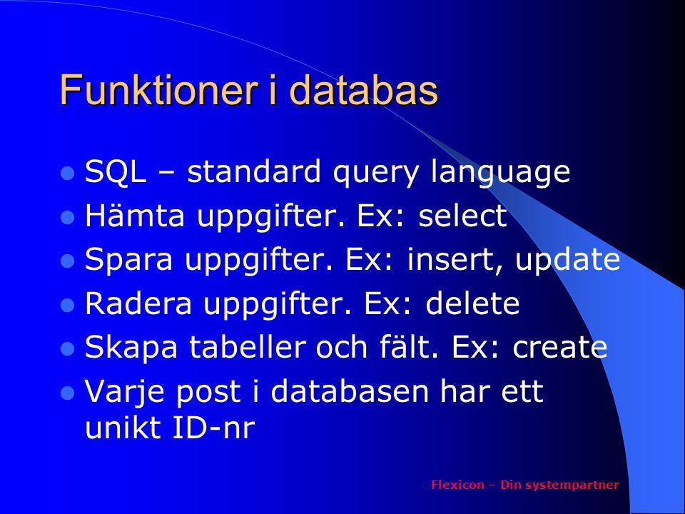 Funktioner i databas SQL – standard query language Hämta uppgifter. Ex: select Spara uppgifter. Ex: insert, update Radera uppgifter. Ex: delete Skapa