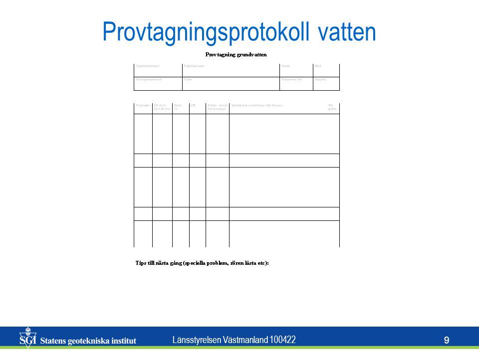 Länsstyrelsen Västmanland 100422 10 SGF beteckningsblad För geoteknisk redovisning i plan och sektion Finns att hämta på www.sgf.netwww.sgf.net