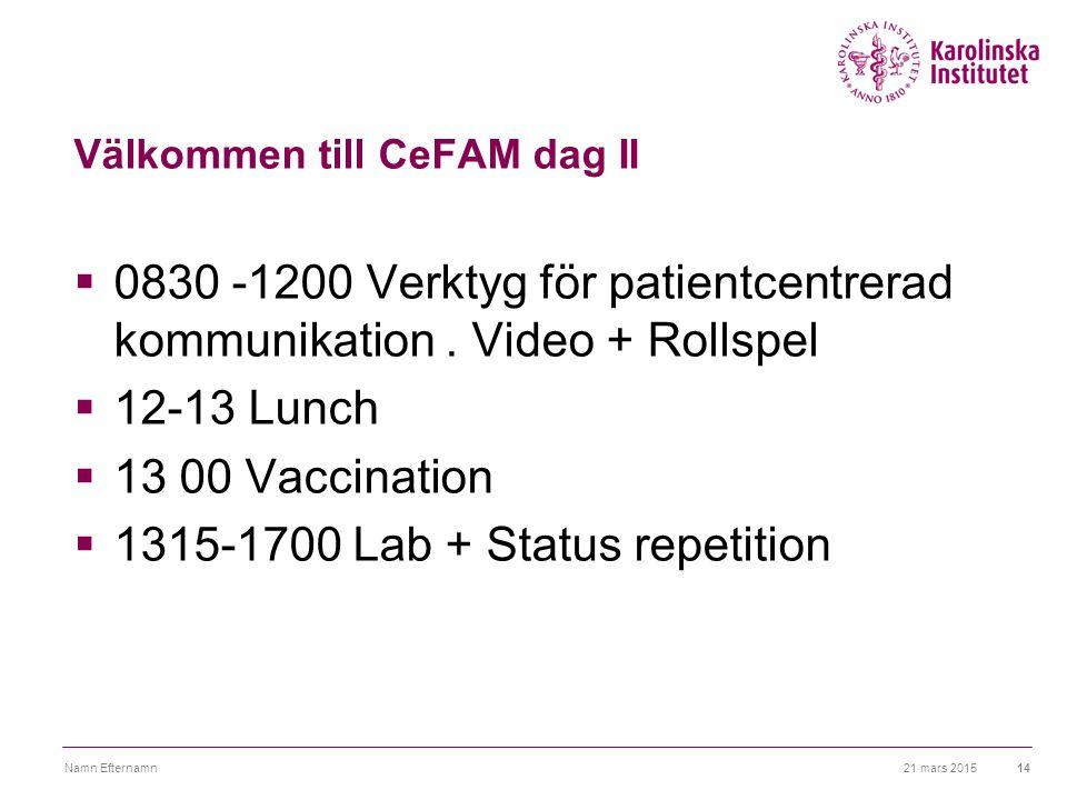 Välkommen till CeFAM dag II  0830 -1200 Verktyg för patientcentrerad kommunikation. Video + Rollspel  12-13 Lunch  13 00 Vaccination  1315-1700 La