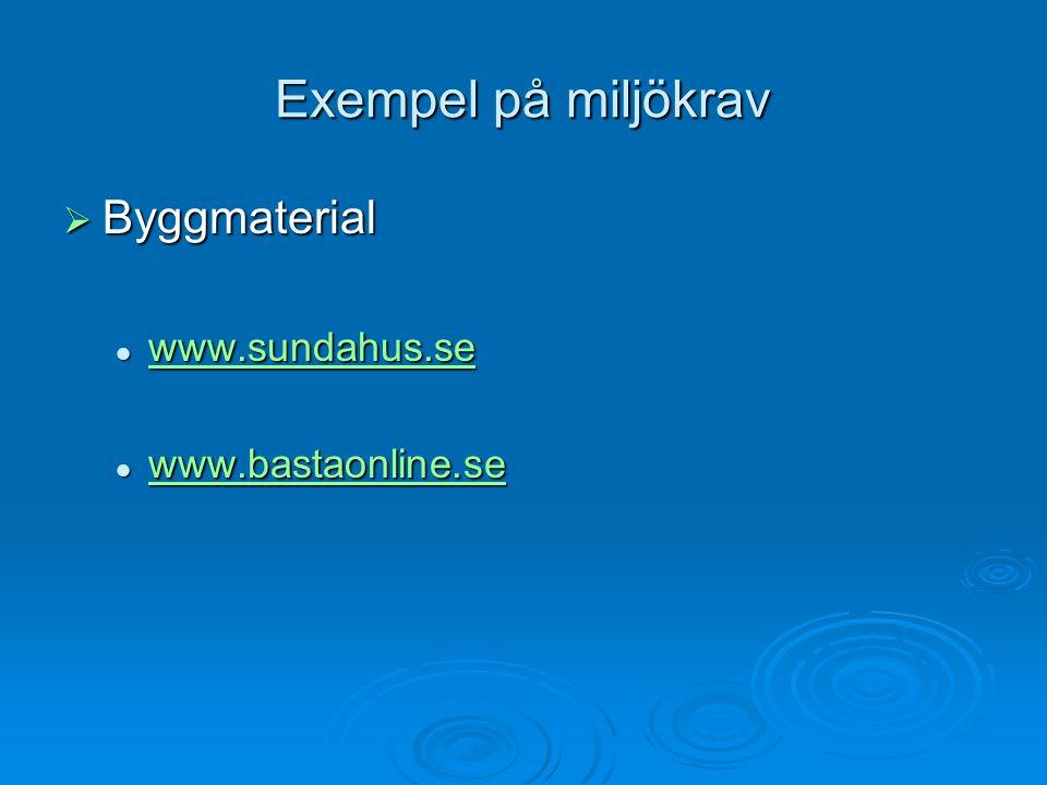 Exempel på miljökrav  Byggmaterial www.sundahus.se www.sundahus.se www.sundahus.se www.bastaonline.se www.bastaonline.se www.bastaonline.se