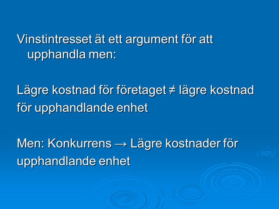 Vinstintresset ät ett argument för att upphandla men: Lägre kostnad för företaget ≠ lägre kostnad för upphandlande enhet Men: Konkurrens → Lägre kostn