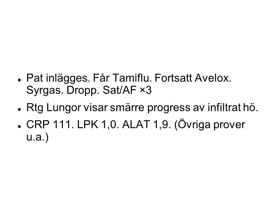 Pat inlägges. Får Tamiflu. Fortsatt Avelox. Syrgas. Dropp. Sat/AF ×3 Rtg Lungor visar smärre progress av infiltrat hö. CRP 111. LPK 1,0. ALAT 1,9. (Öv