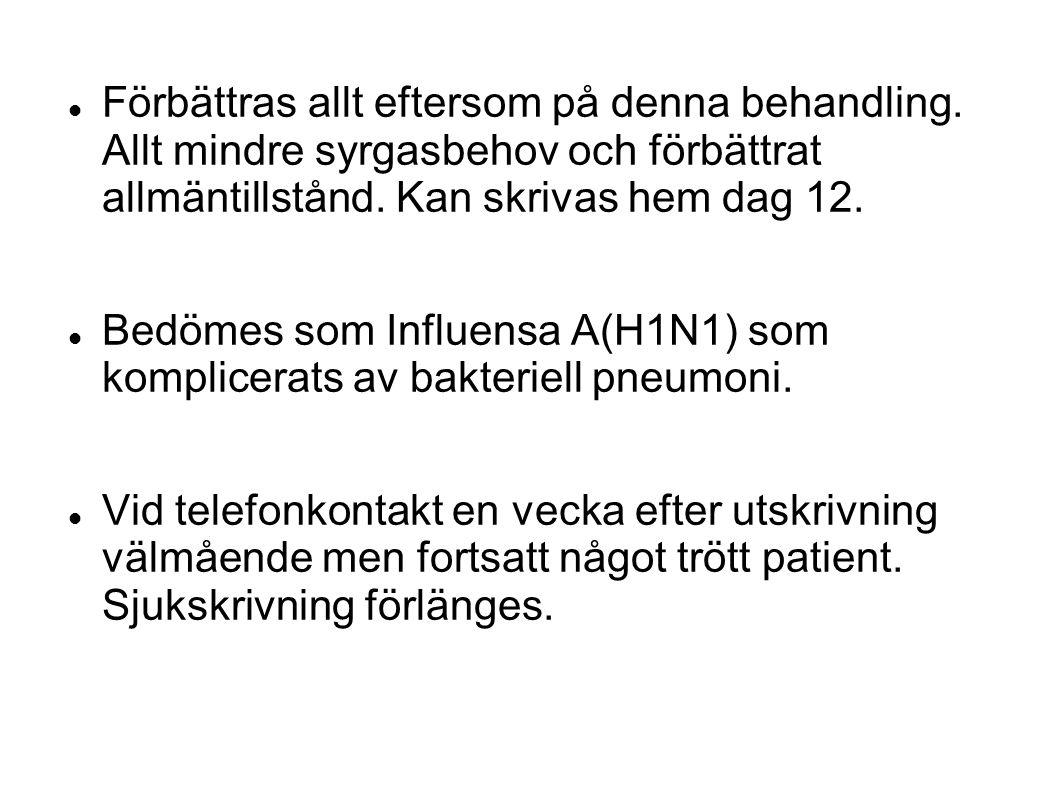 Förbättras allt eftersom på denna behandling. Allt mindre syrgasbehov och förbättrat allmäntillstånd. Kan skrivas hem dag 12. Bedömes som Influensa A(