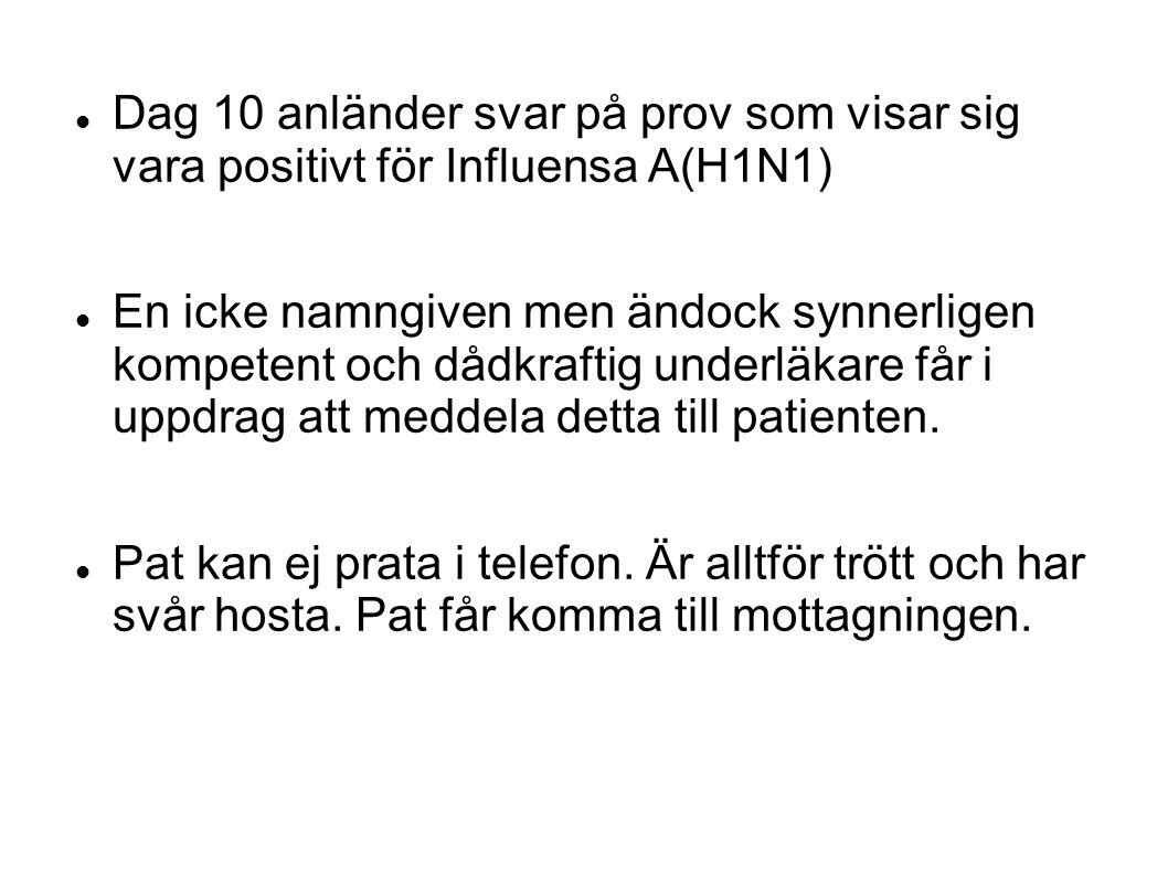 Dag 10 anländer svar på prov som visar sig vara positivt för Influensa A(H1N1) En icke namngiven men ändock synnerligen kompetent och dådkraftig under