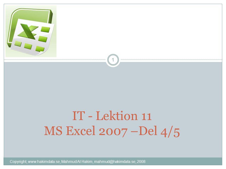 IT - Lektion 11 MS Excel 2007 –Del 4/5 1 Copyright, www.hakimdata.se, Mahmud Al Hakim, mahmud@hakimdata.se, 2008
