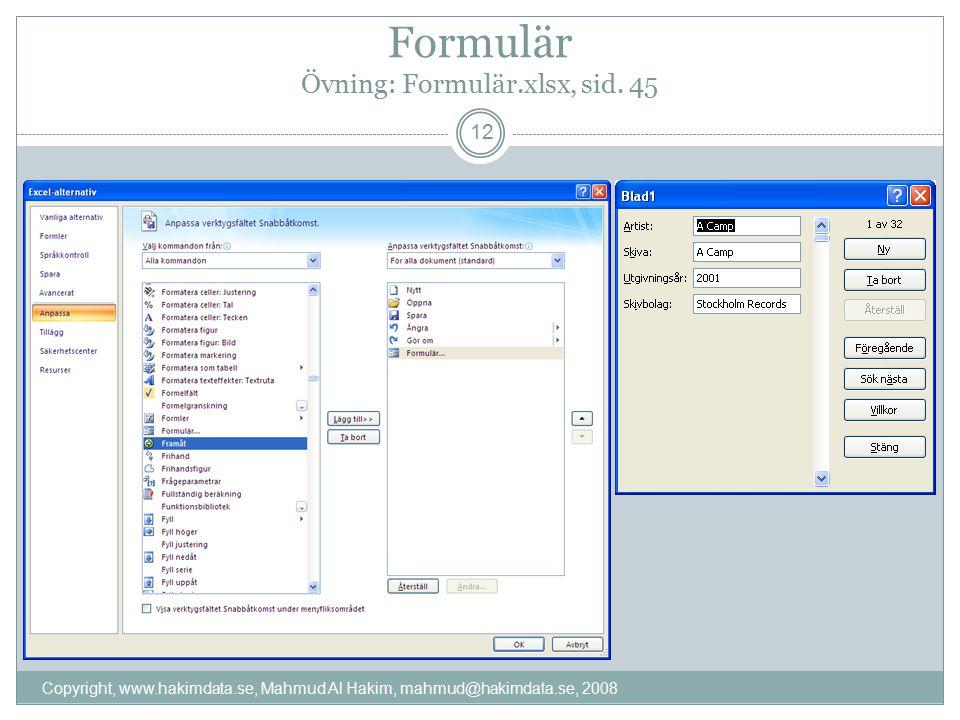 Formulär Övning: Formulär.xlsx, sid.