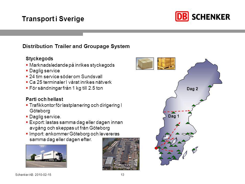Transport i Sverige Styckegods  Marknadsledande på inrikes styckegods  Daglig service  24 tim service söder om Sundsvall  Ca 25 terminaler I vårat